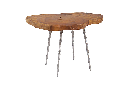 Burled Wood Side Table Forged Legs, Assorted