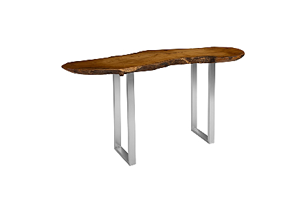Mai Theng Burled Wood Console Table SS Legs