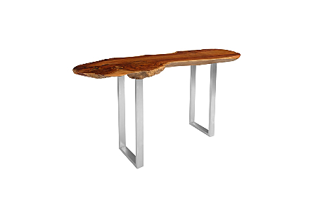 Pradoo Burled Wood Console Table SS Legs