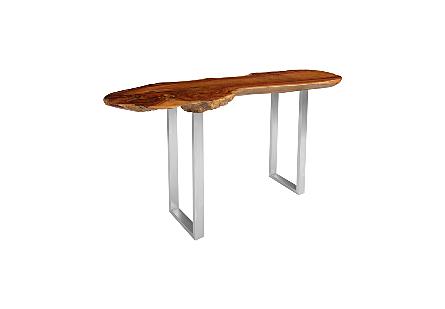 Pradoo Burled Wood Console Table SS Legs