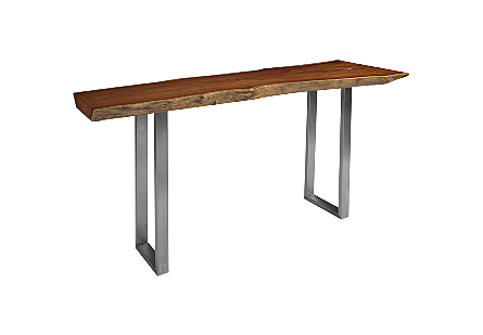 Pradoo Burled Wood Console Table Brushed SS Legs