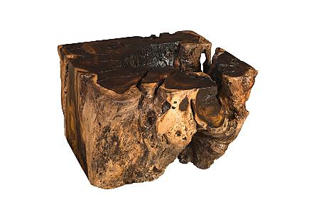 Ebony Burled Wood Side Table