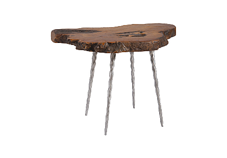Teng Burled Wood Side Table Forged Legs