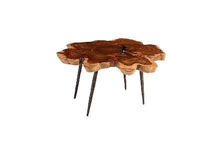 Makha Burled Wood Coffee Table Forged Legs