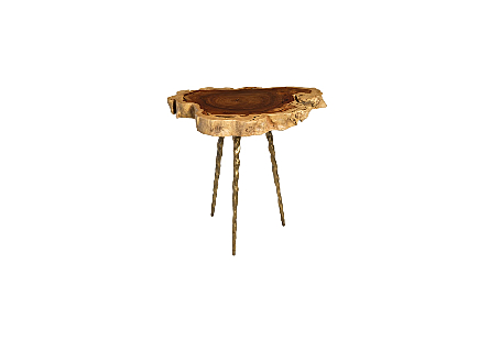 Makha Burl Wood Side Table w/ Forged Brass Legs