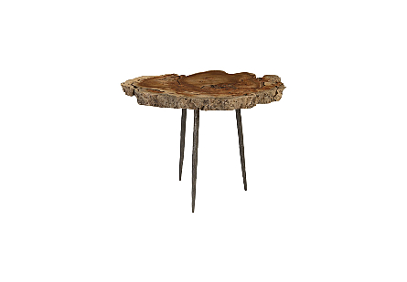 Makha Burl Wood Side Table