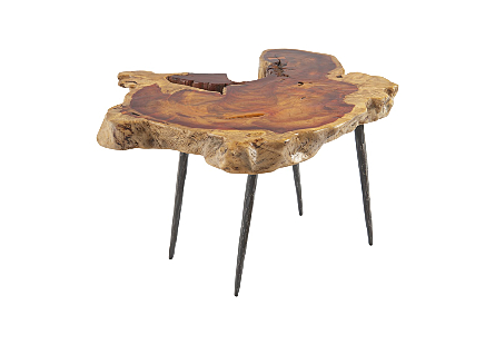 Makha Burl Wood Table Forged Metal Legs