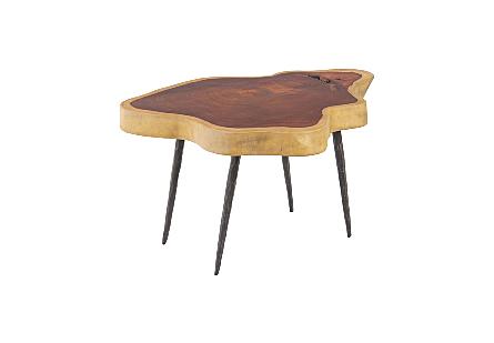 Makha Burl Wood Coffee Table Forged Legs