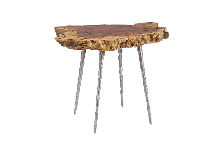 Makha Burl Wood Side Table Forged Legs
