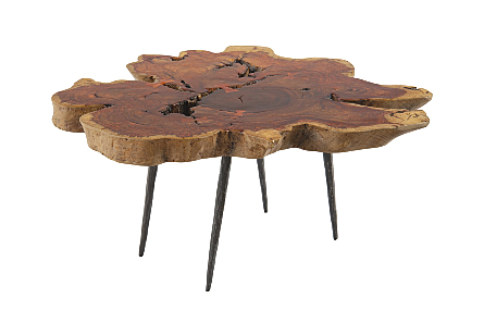 Makha Burl Wood Table Forged Metal Legs