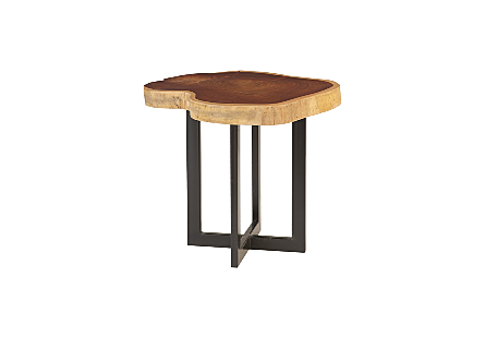 Makha Wood Side Table Metal Base