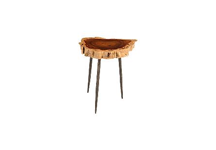 Makha Burled Wood SideTable Forged Legs