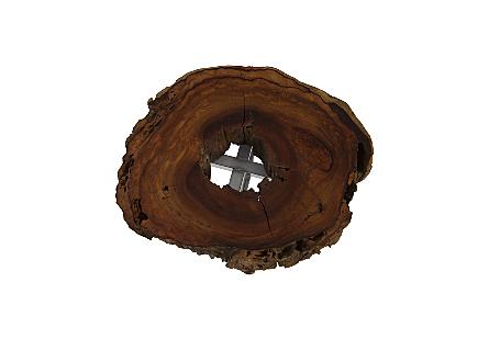 Burled Wood Slice Stainless Steel Base