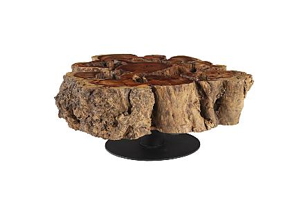 Burled Rosewood Coffee Table Black Metal Base