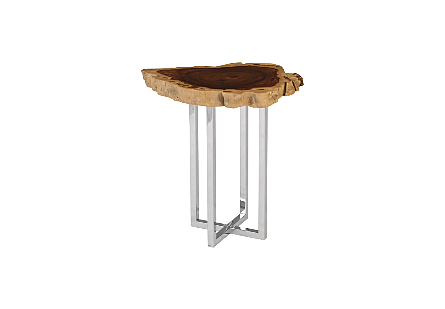 Rosewood Side Table Stainless Steel Base