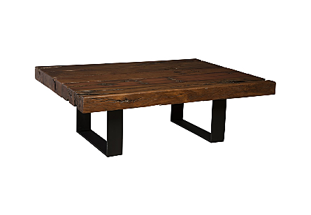 Rail Tie Coffee Table Black Metal Legs