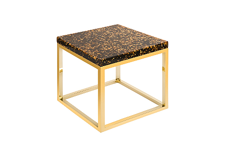 Captured Gold Flake End Table with Plated Brass Finish Base