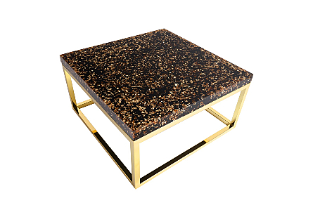 Captured Gold Flake Coffee Table with Plated Brass Finish Base