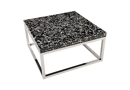 Captured Silver Flake Coffee Table with SS Base