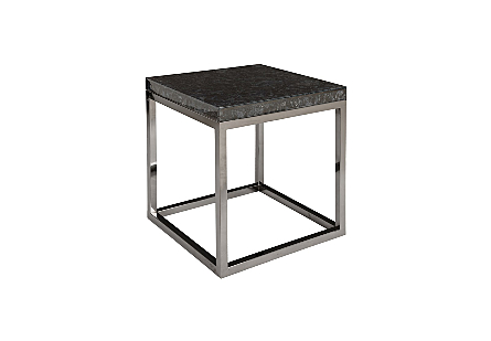 Captured Denim End Table w/ Plated Black Nickel Base