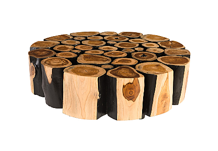 Boscage Coffee Table on Black Metal Legs Round