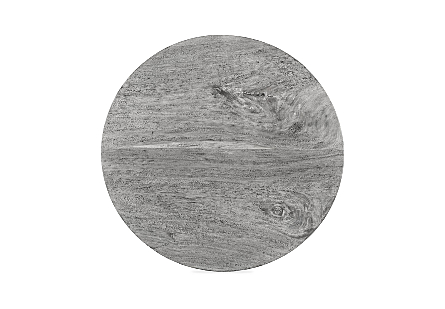 Chuleta Round Dining Table on Stainless Steel Base Chamcha Wood, Grey Stone, 60""
