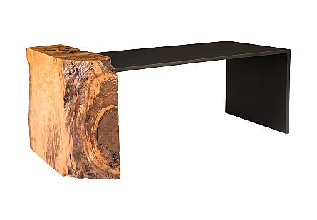 Mai Theng Burled Wood Coffee Table w/Iron