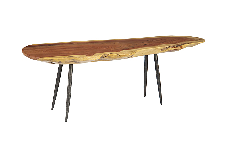Mai Theng Burled Wood Console Table Brushed SS Legs