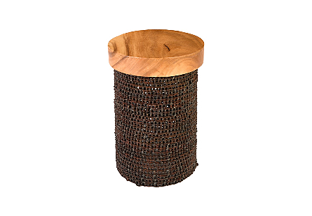 Chain Side Table Round, Chamcha Wood Top, Natural
