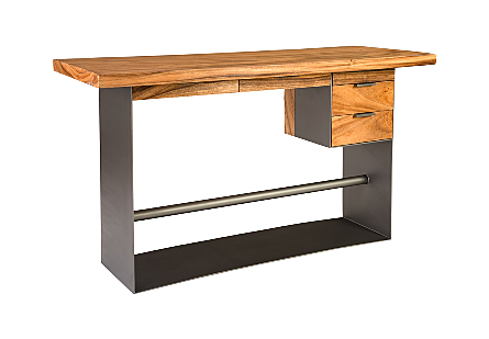 Iron Frame Standing Desk with Drawers Chamcha Wood, Natural, Bar Height