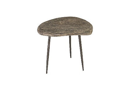 Skipping Stone Side Table Grey Stone, Forged Legs