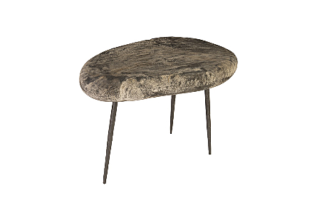 Skipping Stone Side Table Gray Stone, Forged Legs