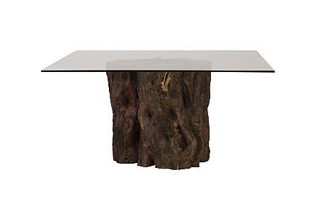 Mai Theng Dining Table Square with Glass on SS Risers