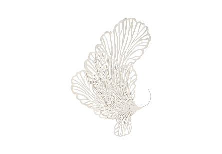 front view of the lacy profile of the Small White Butterfly Wall Sculpture by Phillips Collection wall art made of a white powder-coated metal