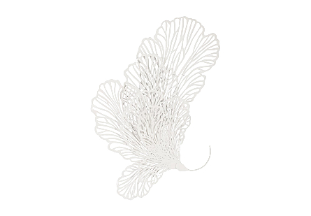 front view of the lacy profile of the Large White Butterfly Wall Sculpture by Phillips Collection wall art made of a white powder-coated metal