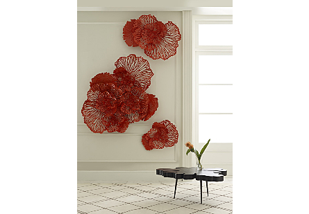 Flower Wall Art Medium, Coral, Metal