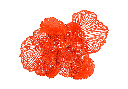 Flower Wall Art Large, Coral, Metal