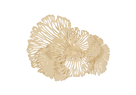 Flower Wall Art Small, Ivory, Metal
