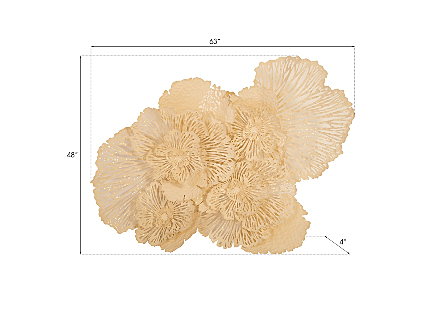 Flower Wall Art Large, Ivory, Metal