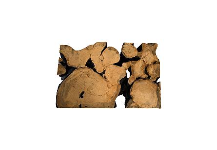Pipal Wood Coffee Table Burnt Edge, SS Legs