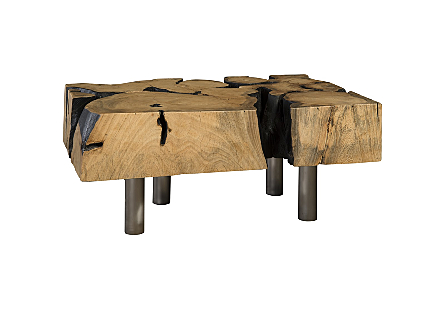 Pipal Wood Coffee Table Burnt Edge, SS Legs