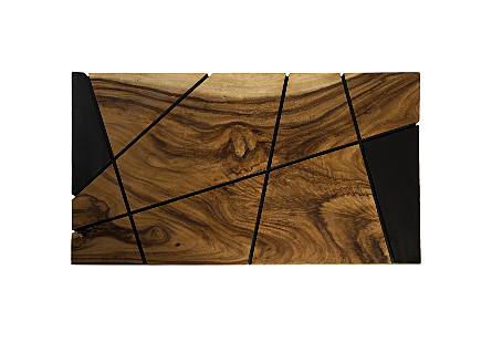 Criss Cross Coffee Table on Black Iron Legs Chamcha Wood