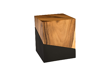 angled view of the Geometry Natural Stool by Phillips Collection which is made of slanting sections of warm textural woodgrain and sleek black