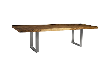 Chamcha Wood Dining Table Book-Ends E, Brushed SS Legs