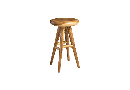 Smoothed Bar Stool Chamcha Wood, Natural, Round