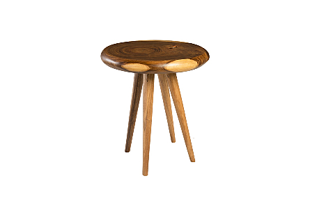 Smoothed Table Chamcha Wood, Natural, Round