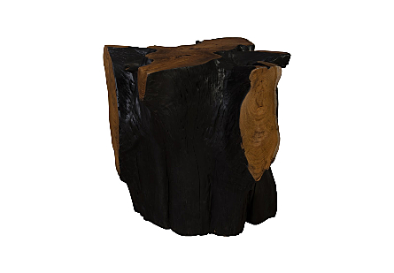 Teak Wood Stool Burnt Edge, Assorted