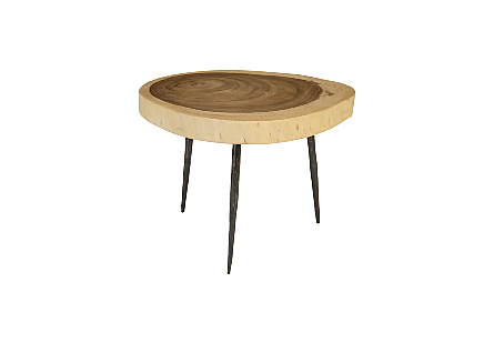 Crosscut Side Table Natural, Forged Legs