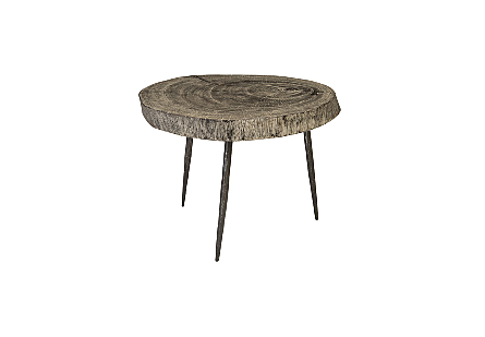 Crosscut Side Table Gray Stone, Forged Legs