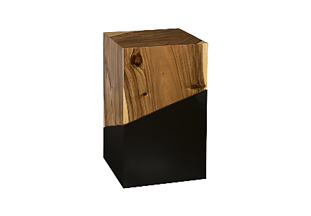 angled view of the Geometry Medium Natural Side Table by Phillips Collection which is made of slanting sections of warm woodgrain and sleek black